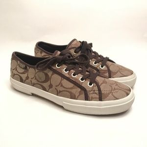 Coach Women's Kayn Khaki/Brown Sneakers Size 8